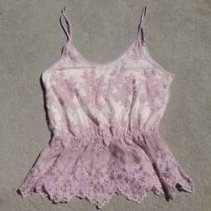 Heart & Hips lace peplum camisole lilac large